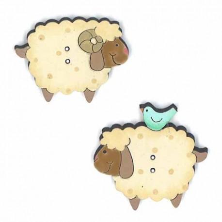Botón de madera de ovejas.