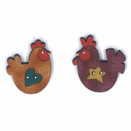 Botón de madera pareja de gallinas.