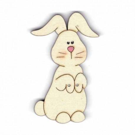 Botón de madera de Conejo.