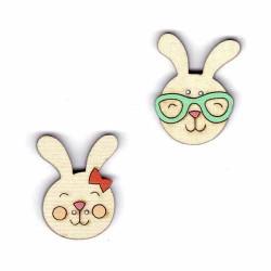 Botón de madera de caras de Conejos.