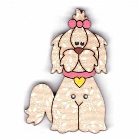 Botón de madera de Perro.