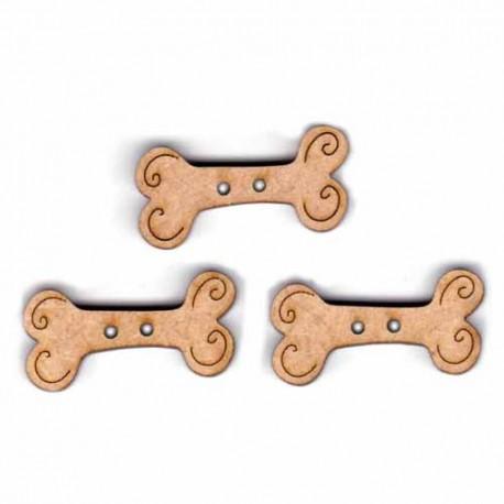 Botón de madera huesos para perros.