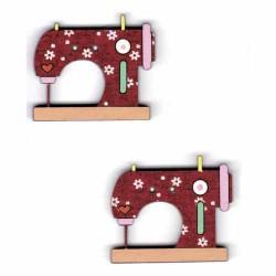 Botón de madera máquinas de coser roja.
