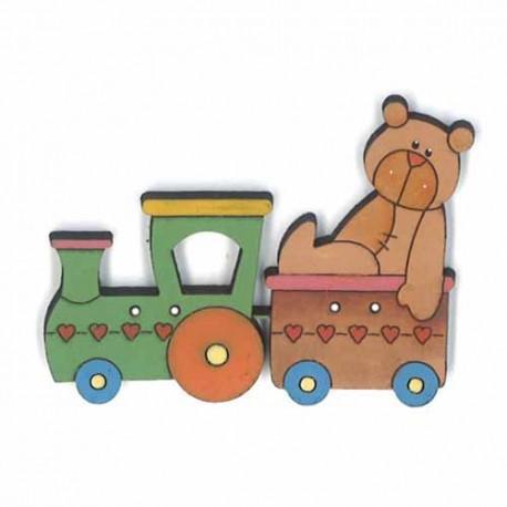 Botón de madera Tren y osito.