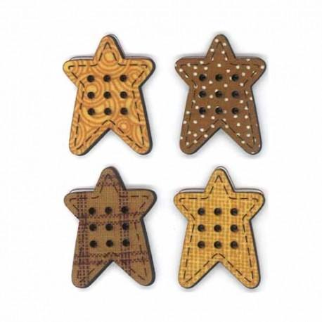 Boton de madera de Estrellas.
