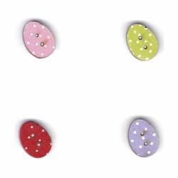 Botón de madera Huevos de colores.