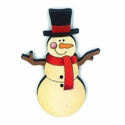 Botón de madera de muñeco de nieve.