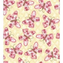 Tela crema con mariposas rosa para Patchwork