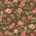 Tela Floral Roses Brown