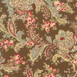 Tela Floral Foulards Roses Brown