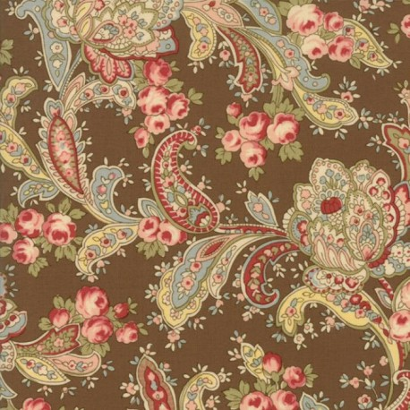 Tela Floral Foulards Roses Brown  33271 15