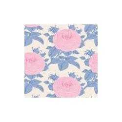 Tela Tilda Grandma's Rose Blue , 2005745 Flores de la abuela Rosa con el tallo azul