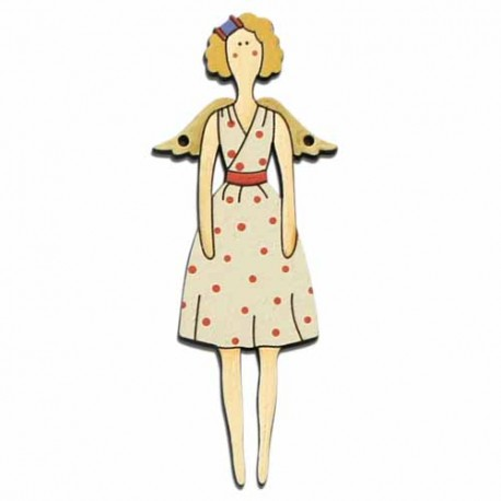 Botón de madera muñeca Doll rubia.