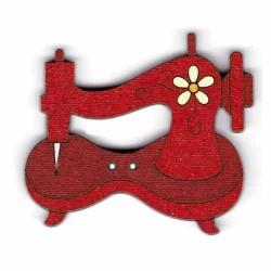Botón de madera máquina de coser roja.
