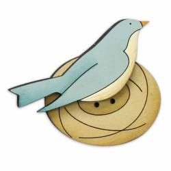 Botón de madera Pájaro en el nido.