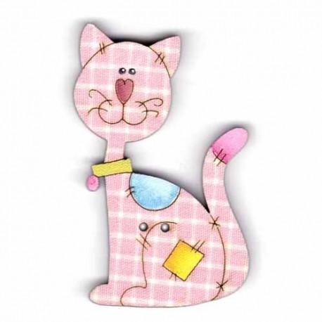 Botón de madera Gato rosa