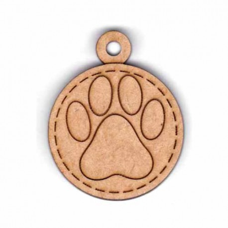 Botón de madera colgante de perro.